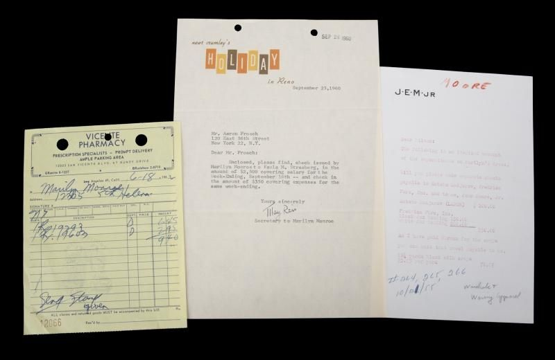 Marilyn Monroe receipt from Vicente Pharmacy dated June 18, 1962, in - pharmacy letter
