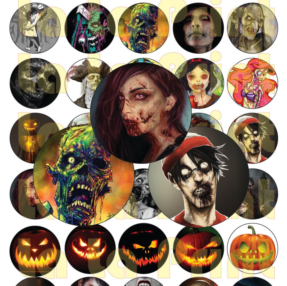 30 Halloween Digital Party Stickers Circles size 1'' sheet A4 (8.5''x11'')…