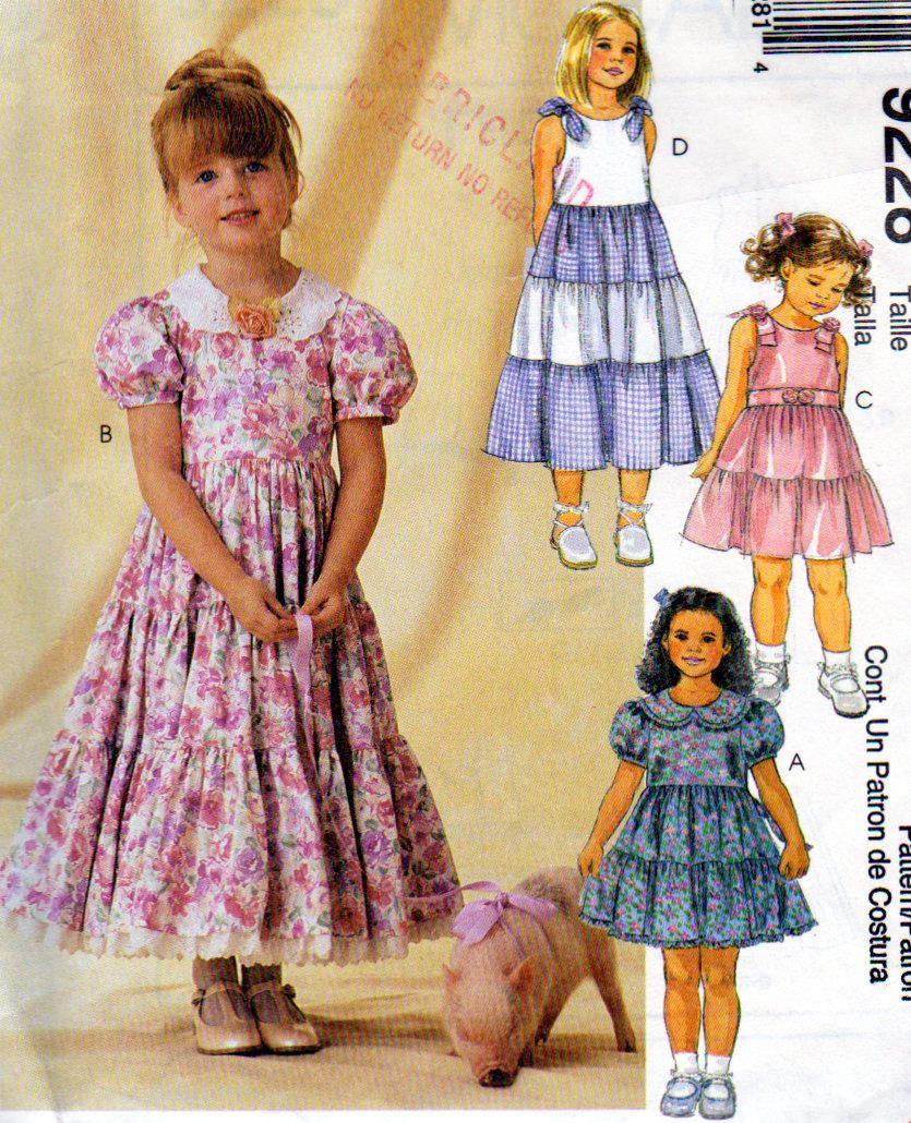 McCalls 9228, Size 2,3,4,Girls Party Dress, 2 or 3 Tier Skirt Dress ...