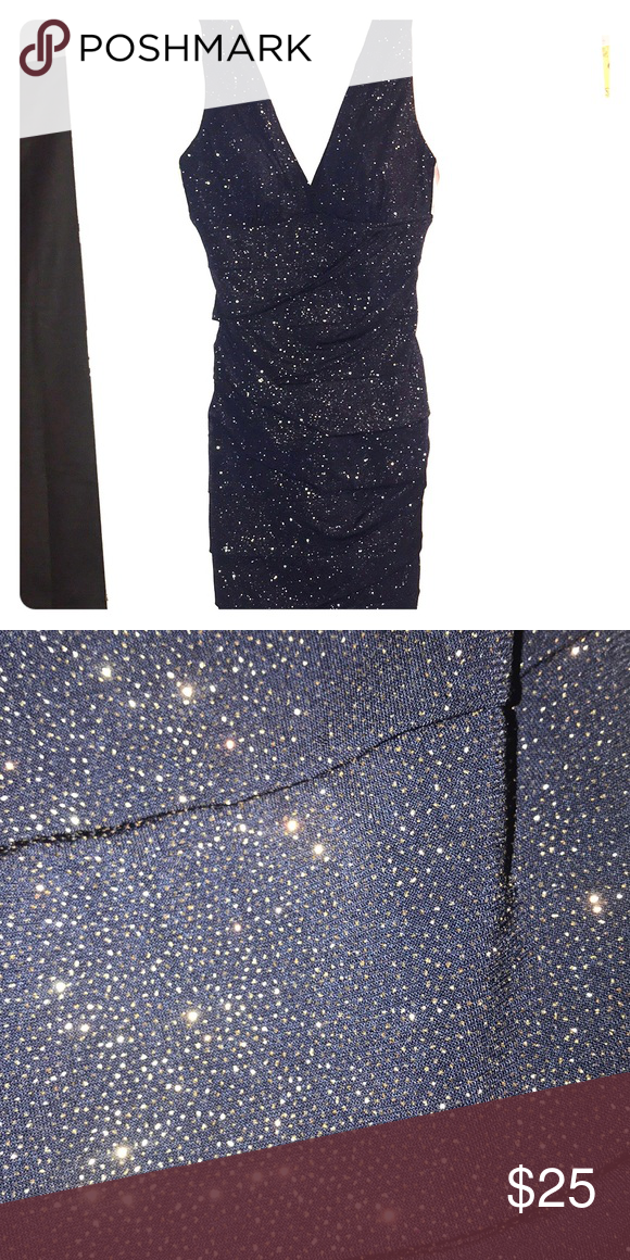 Navy Blue And Gold Semi Formal Dress