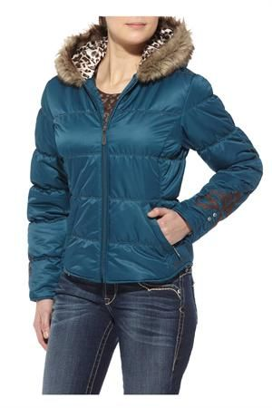 """Exclusive #Sale! Discount code """"QUICKSHIP"""" saves 20% off sale price! Ariat Women's Brooks Blue Bamboo Puffy Jacket #fur"""