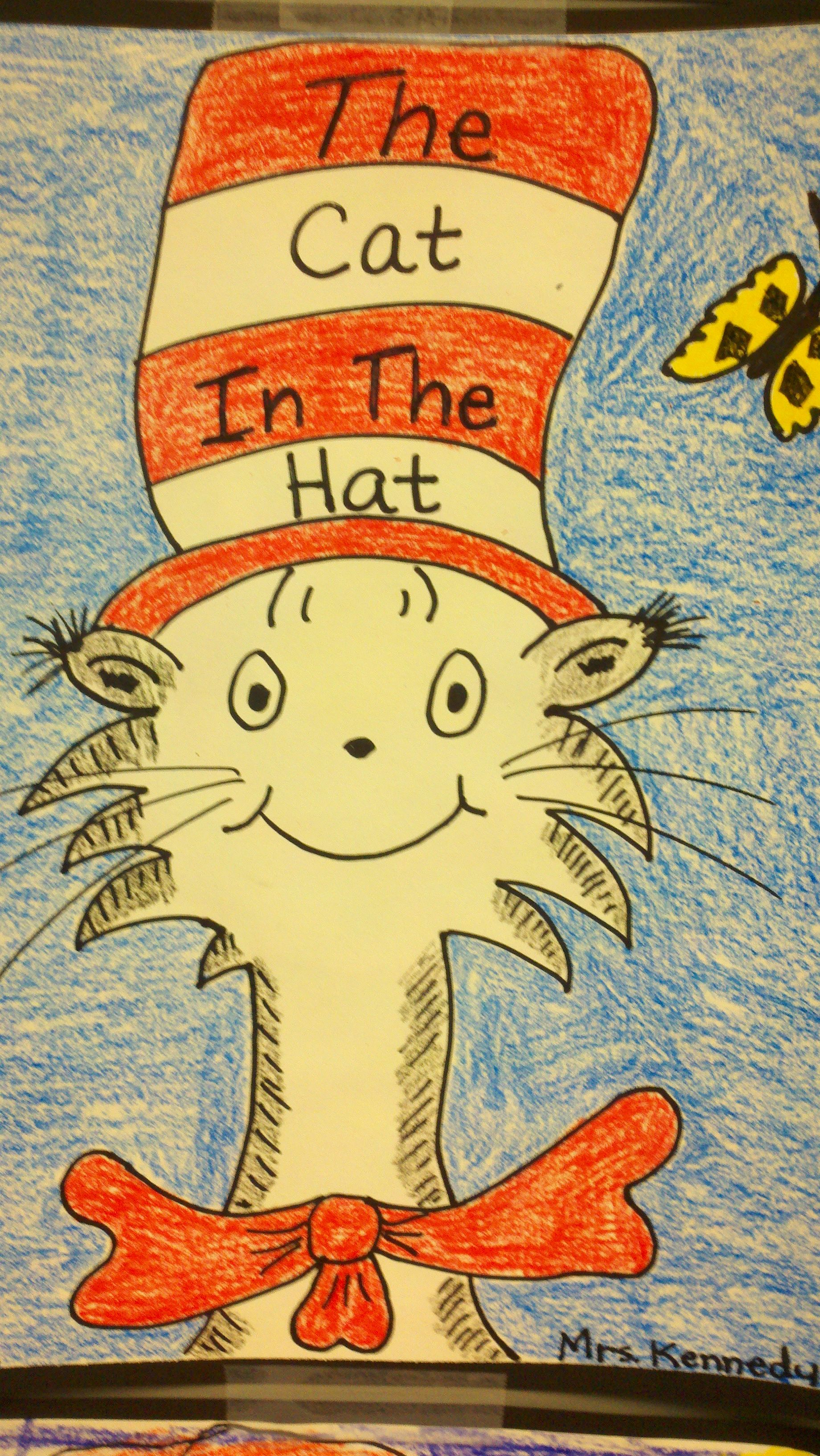 This is a graphic of Unforgettable Drawing Cat In The Hat