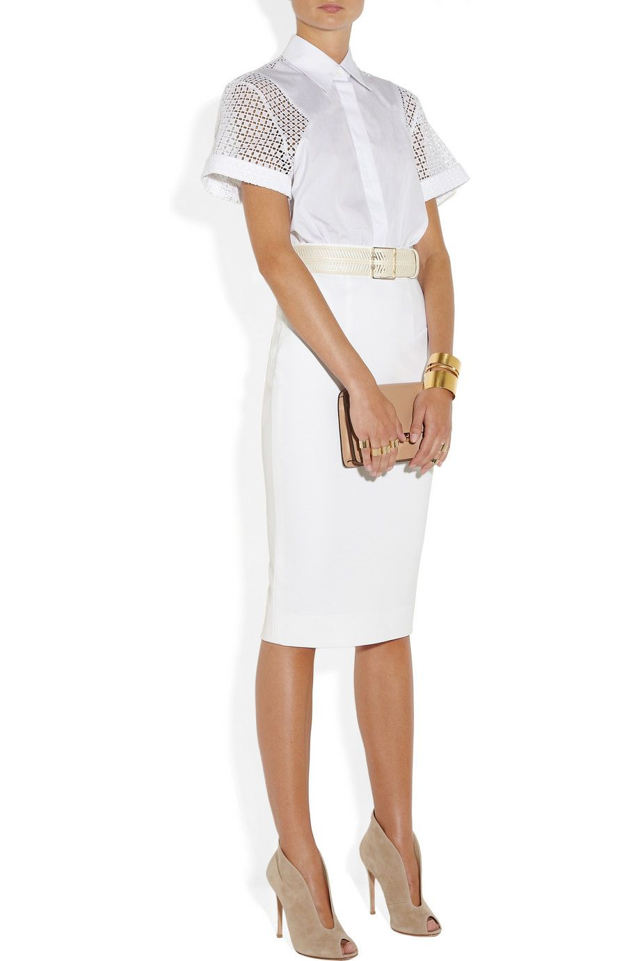 White Belted Lace And Cotton Poplin Dress Victoria Beckham Classic Style Outfits Poplin Dress Fashion [ 1380 x 920 Pixel ]