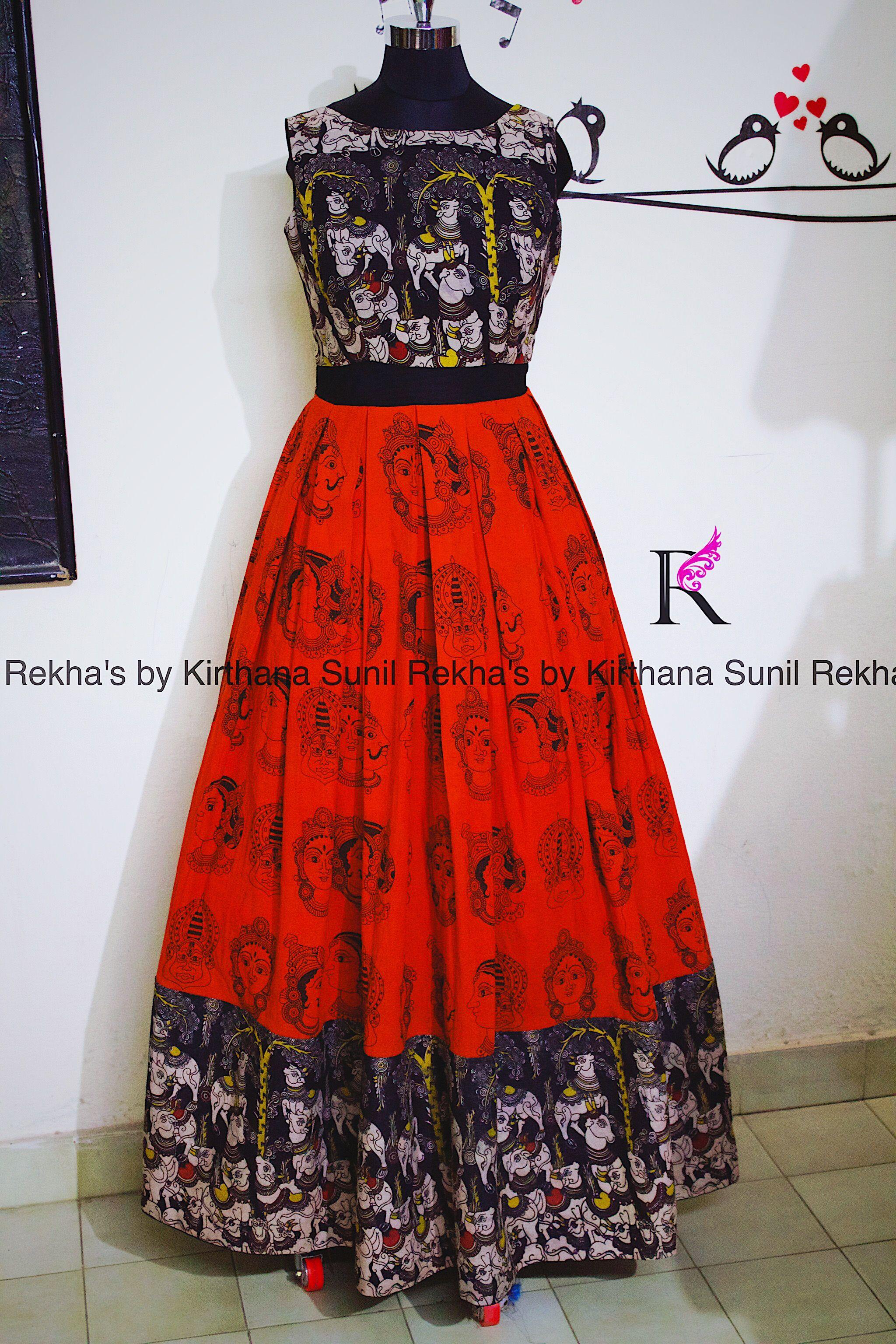 Kalamkari long dress from rekhaus house of coutures sarees