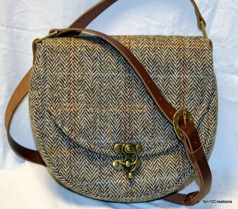 721eb99b42 Harris Tweed Saddle Bag in Light Brown Herringbone. by Ten10Creations on  Etsy