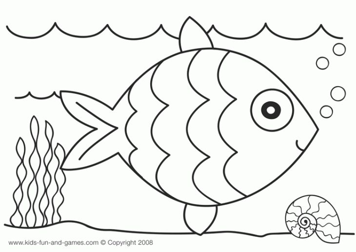 Blank Rainbow Fish Outline To Color For Kindergarten Fun