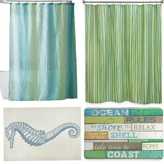 Blue And Green Shower Curtain Bath Rug Combo Ideas