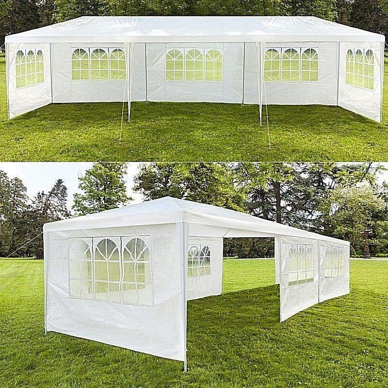 tente tonnelle jardin 3 x 9m réception blanc chapiteau auvent ...