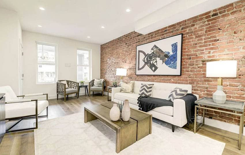 Exposed Brick Wall Living Room Design Ideas In 2020 Brick Wall Living Room Exposed Brick Wall Living Room Brick Living Room