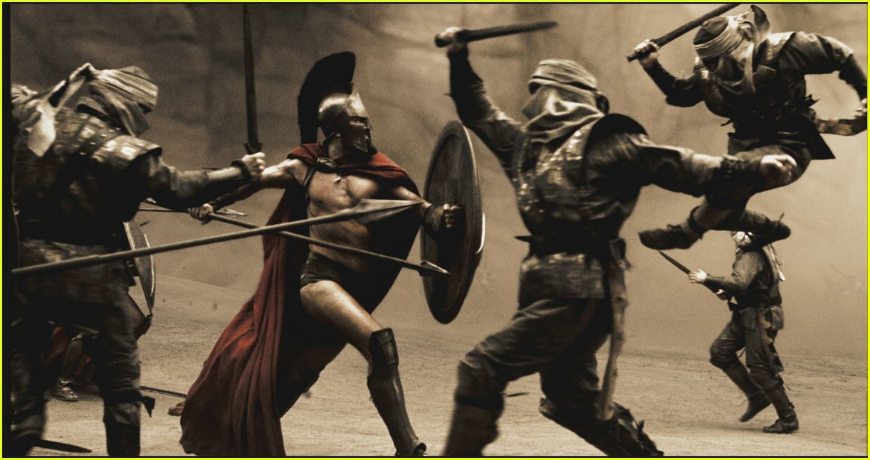 '300' Movie Stills. low key lighting lots of reflection off walls and actors is created