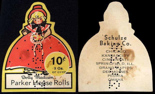 Schulze Baking Co - Dolly Madison - Parker House Rolls 10-cent label - 1930s-1940s by JasonLiebig, via Flickr