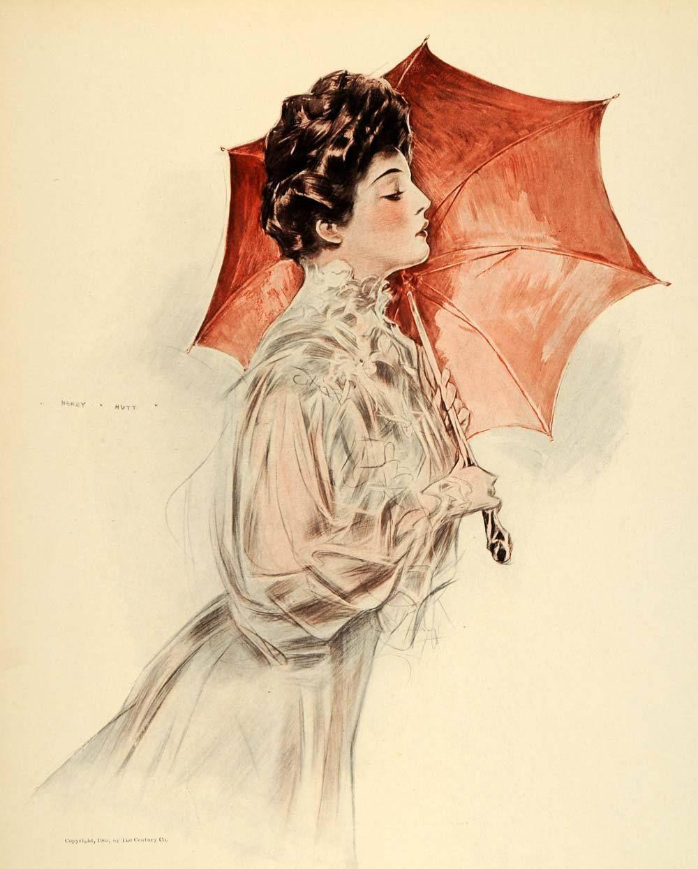 1908 Henry Hutt Victorian Lady Parasol Umbrella Print Original | eBay