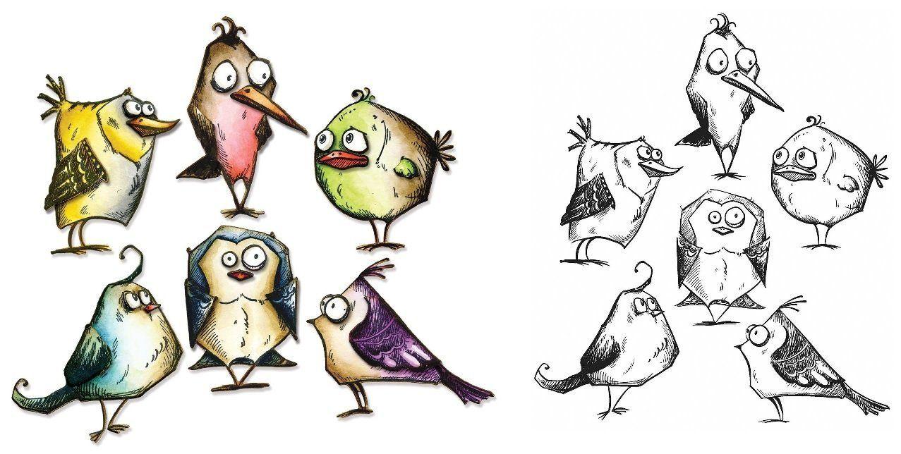 Amazon.com: Tim Holtz Bird Crazy Cling Rubber Stamp og Sizzix Thinlits Dies Bundle: Kunst, Håndarbejde & Syning