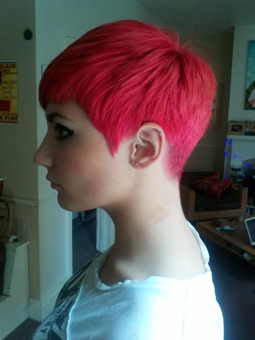 Pixie Cut Clean Tapered Back Shorthair Sexy Pink