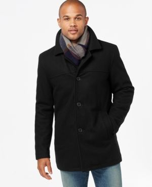 faedaf1fcc9ff Tommy Hilfiger Melton Wool Walking Coat with Scarf - Black XXL