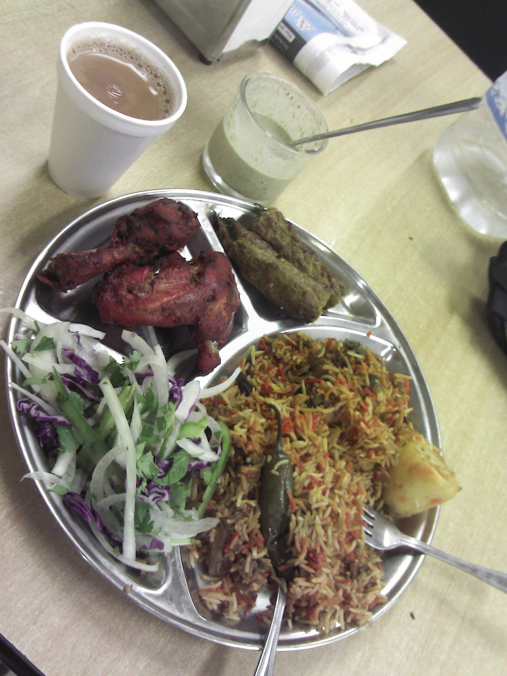 Pakistani Food Plate Biryani Tikka Seekh Kakab And Some