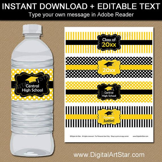 Graduation party water bottle labels in black and yellow with text - water bottle label template