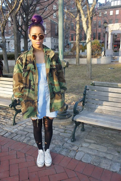 camo jacket thrift store rags a go  fashion grunge