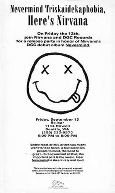 Nirvana nevermind release party flyer september 13 1991 smiley face whats the nirvana smiley face logo meaning m4hsunfo Gallery