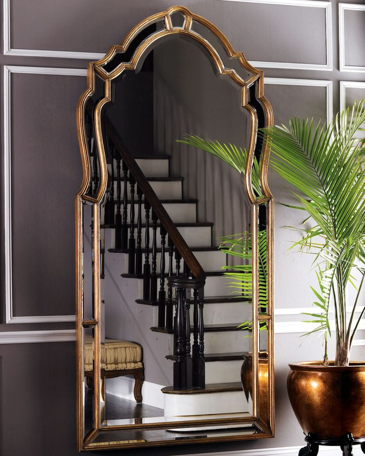 John richard collection oversized beveled mirror home for Gold frame floor mirror