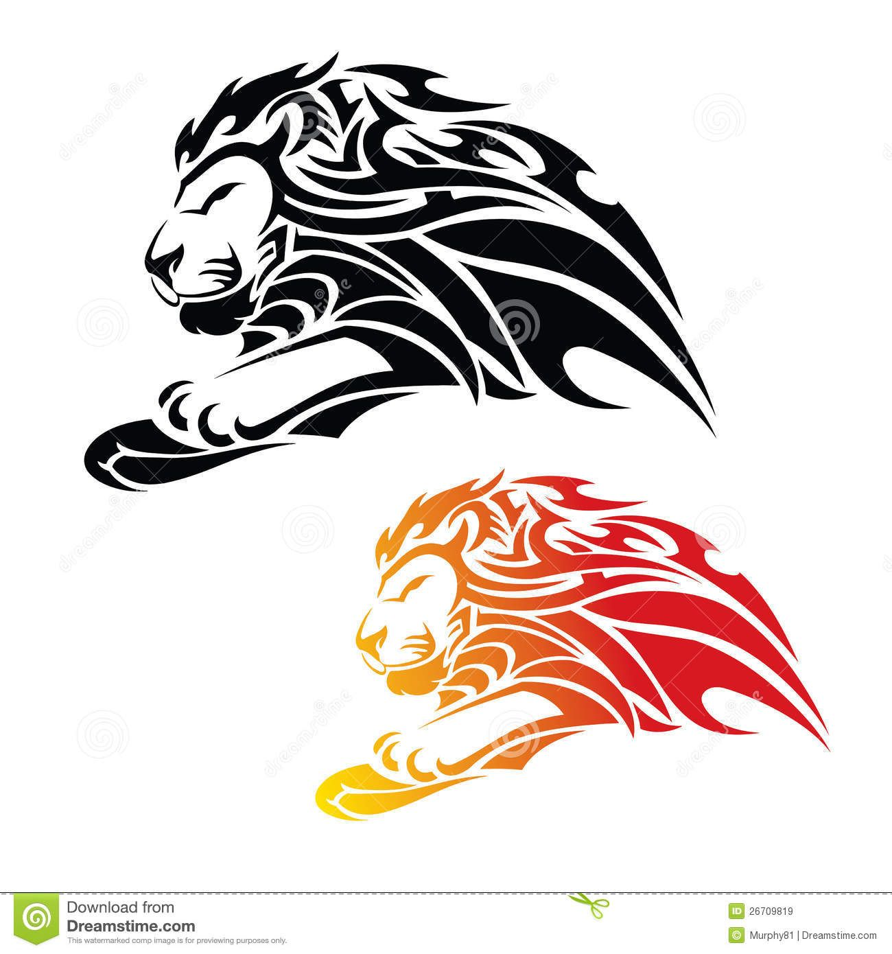 Tribal Lion In Jump Download From Over 62 Million High Quality Stock Photos Images Vectors Sign Up For Free Tribal Lion Lion Tattoo Design Tribal Tattoos
