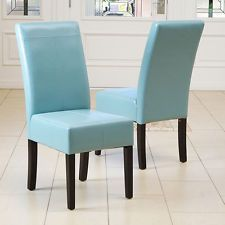 Set Of 6 Dining Room Teal Blue Leather Parsons Chairs