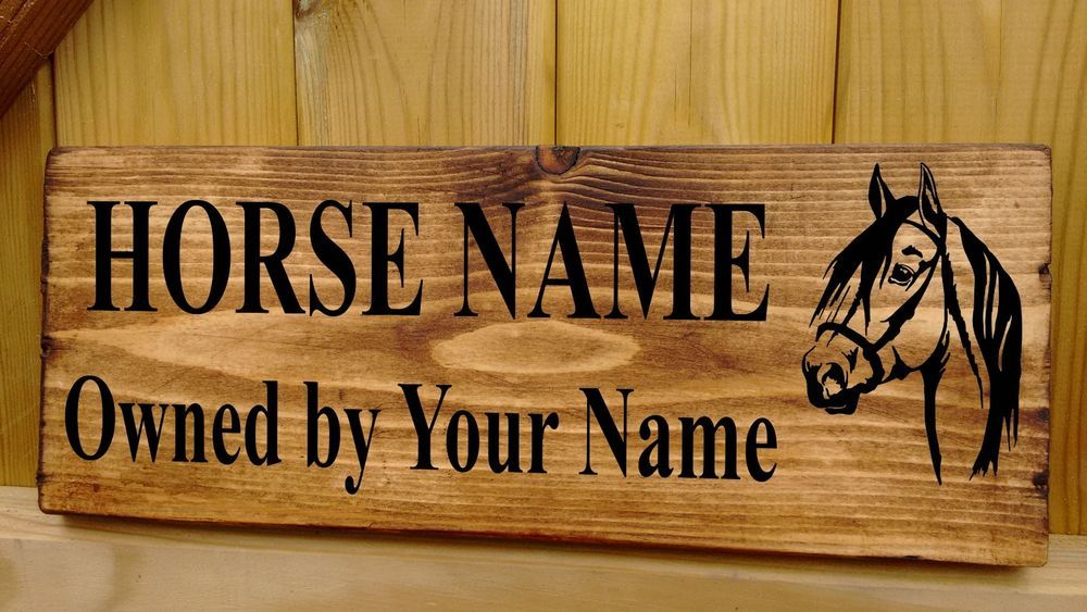 Personalised Engraved Horse Name Plaque Stable Door Wooden