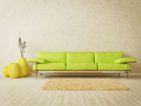 Lime Green Leather Sofa | Paris Curved Leather Chairs