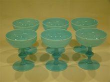 French blue opaline Portieux Vallersythal set of goblets