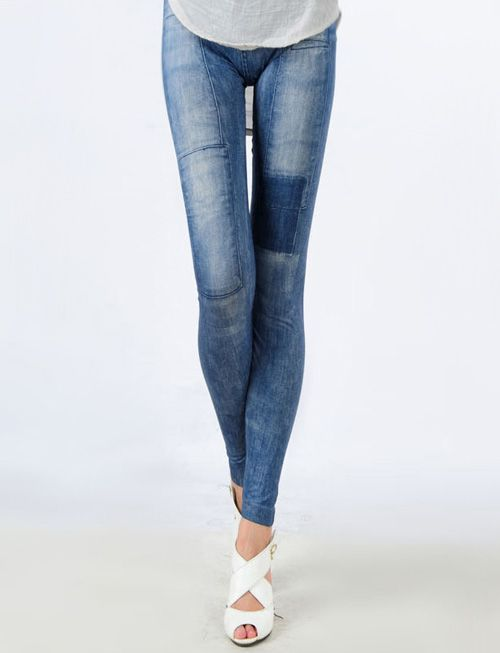 $3.50-This mock denim leggings featuring elasticized waist and a contrast panel design that highlight female curved. Look great teamed with a loose blouse and a pair of high heel for understated style.