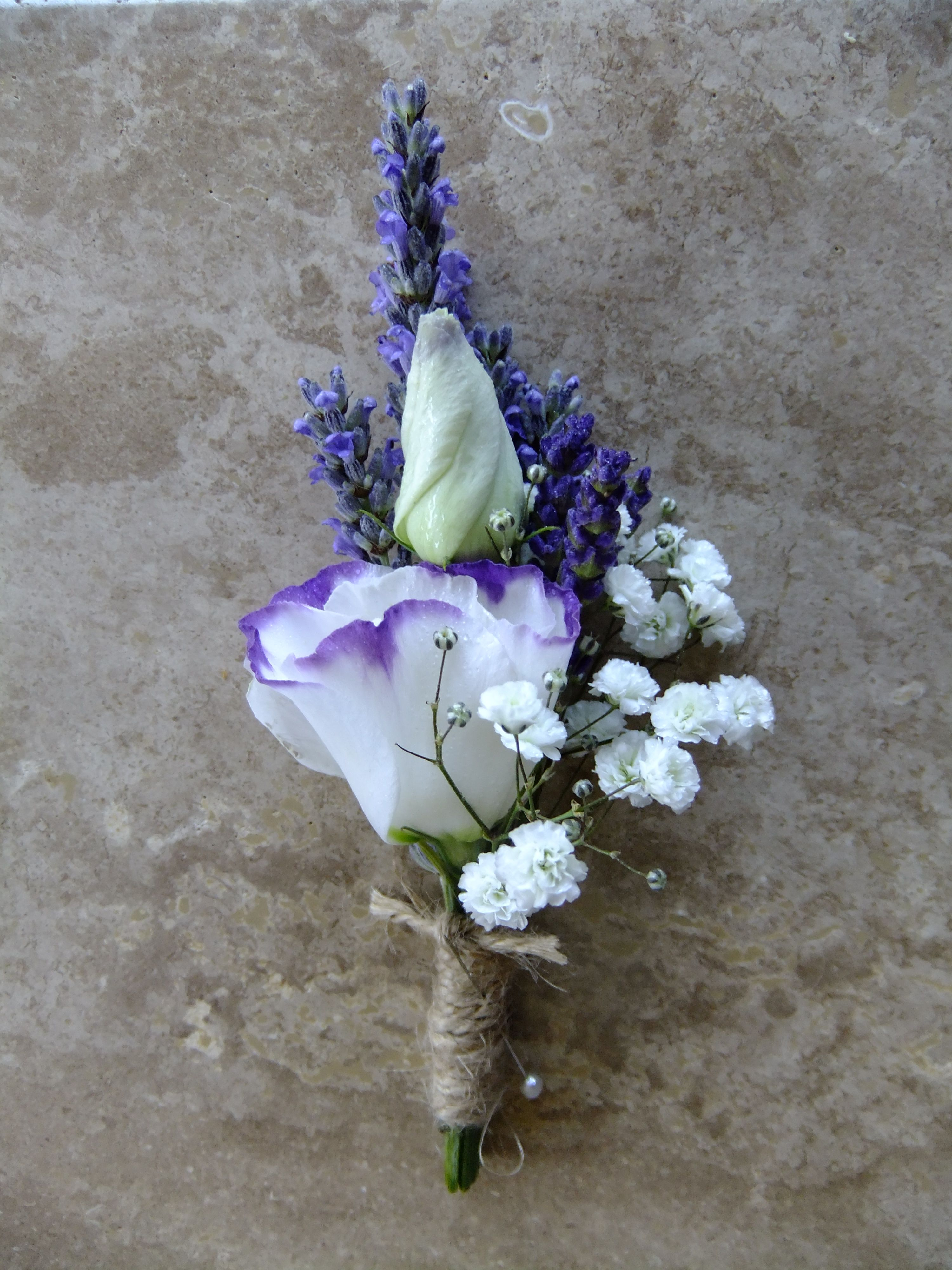 Small Ladies Corsage With Lavender And Purple Picotee Lizianthus