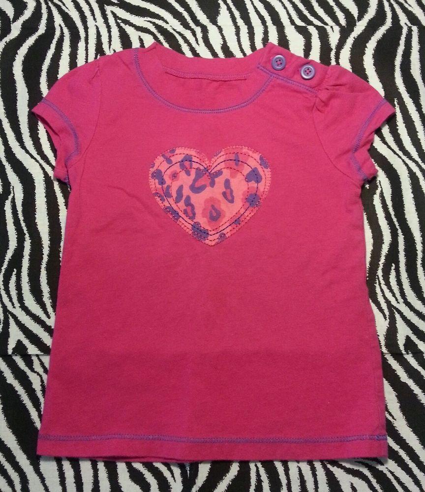 Circo Toddler Girl Pink Purple Leopard Print Heart Tee Shirt Top