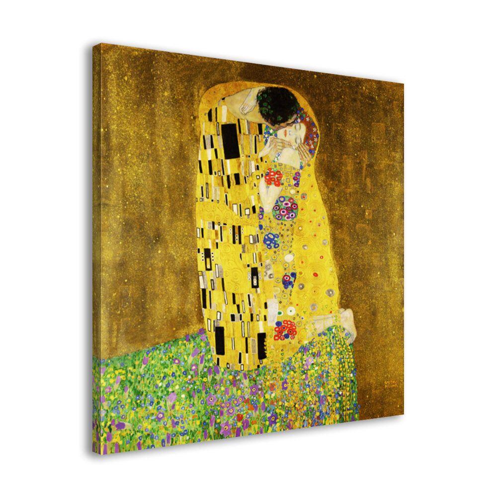 Gustav Klimt - The Kiss - Framed Wall Art Reproduction Canvas Print ...