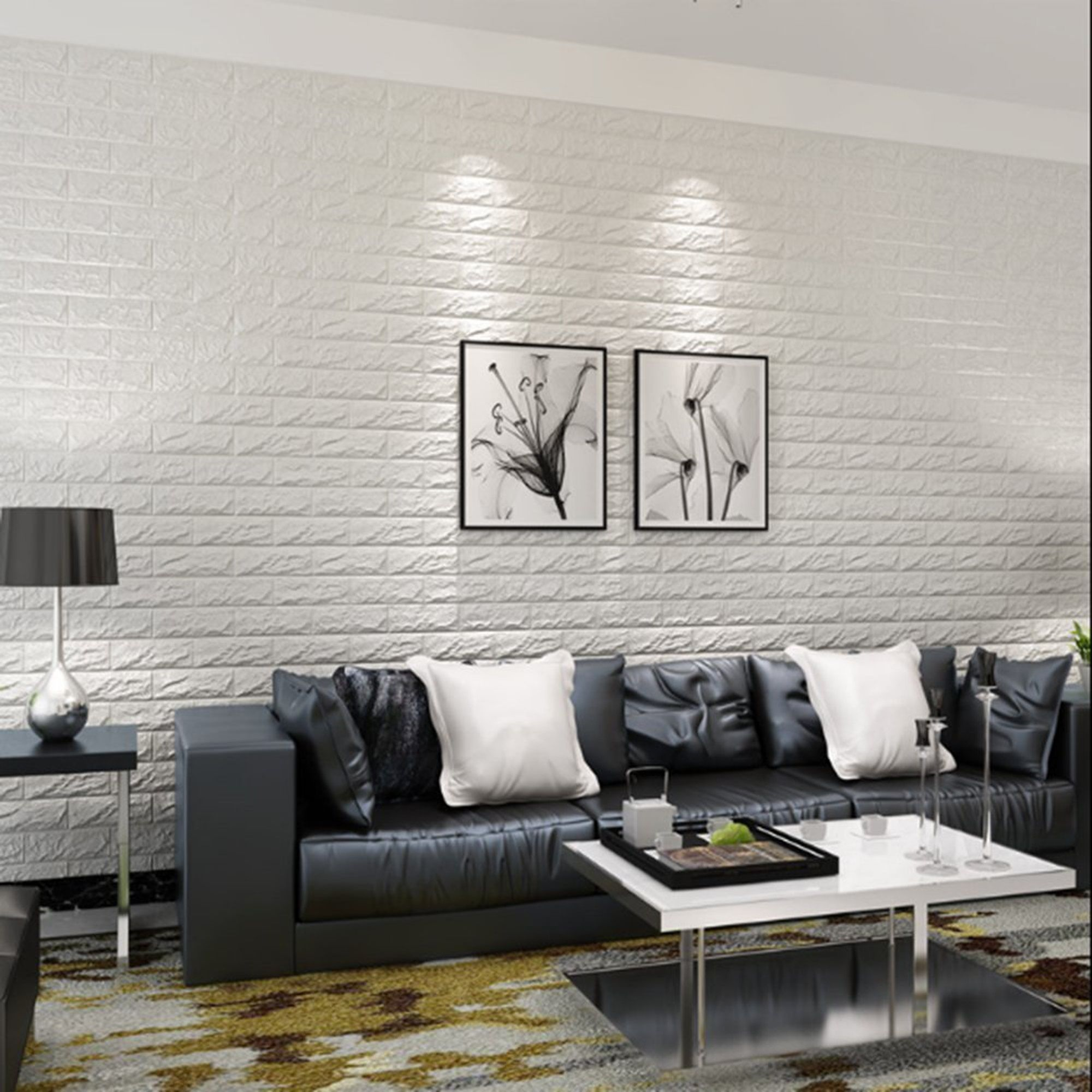 Home Improvement In 2020 White Paneling White Brick Wallpaper Living Room Restaurant