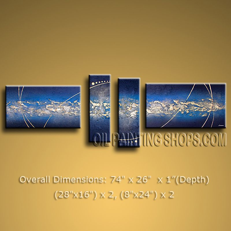 Hand Painted Tetraptych Modern Abstract Painting Wall Art Interior ...