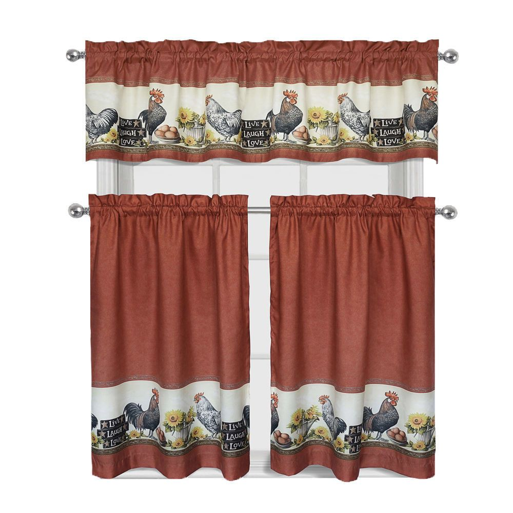 Details About Roosters Sunflowers Complete 3 Pc Kitchen Curtain
