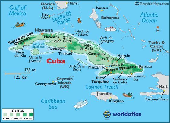 MAPA DE LA ISLA DE CUBA 6 PROVINCIASPINARDEL RIO hABANA