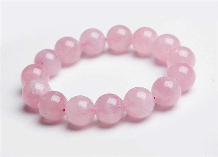 13mm Genuine Madagascar Natural Pink Rose Quartz Crystal Round Beads Jewelry Stretch Bracelets For Women