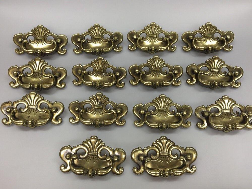 14 Vintage Brass Toned Drawer Pulls Backplates Fancy Ornate ...