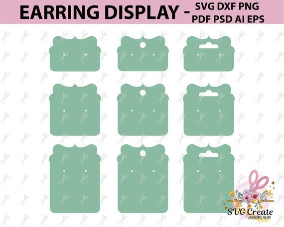 Earring Cards Svg Earring Display Svg Earring Display Pdf Display Template Jewelry Display Display Ca Earring Cards Earring Display Earring Cards Template