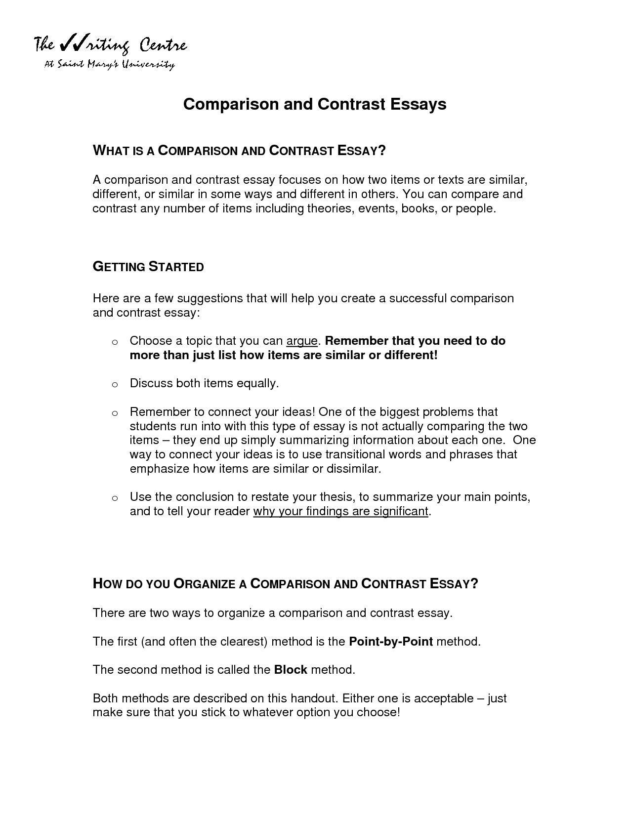 Compare Contrast Essay Outline Example. Comparison/Contrast Essay Outline A  Contrast Of X And
