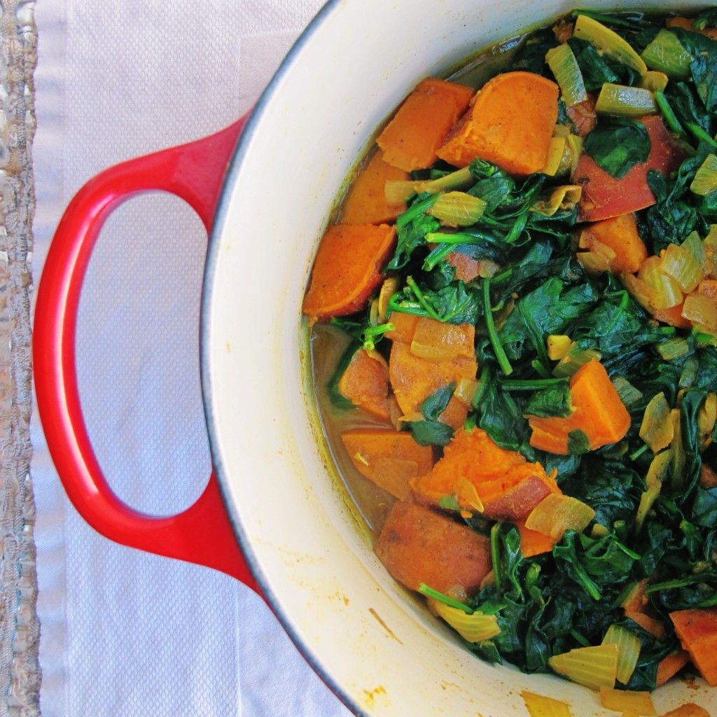 Warm up with from the Polar Vortex with this healthy + warming #vegan Sweet Potato Saag Aloo curry #recipe