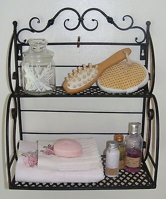 Wrought Iron Bakers Stand Small Kitchen Rack Bathroom Shelf Black Sh77 Ebay