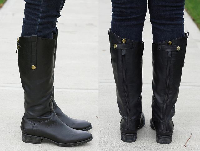 edd81e955d2f3f SAM EDELMAN Penny 2 Riding Boots Wide Calf Tall Zip Black Boot 7 7.5 8.5  9.5 M W  SamEdelman  RidingEquestrian