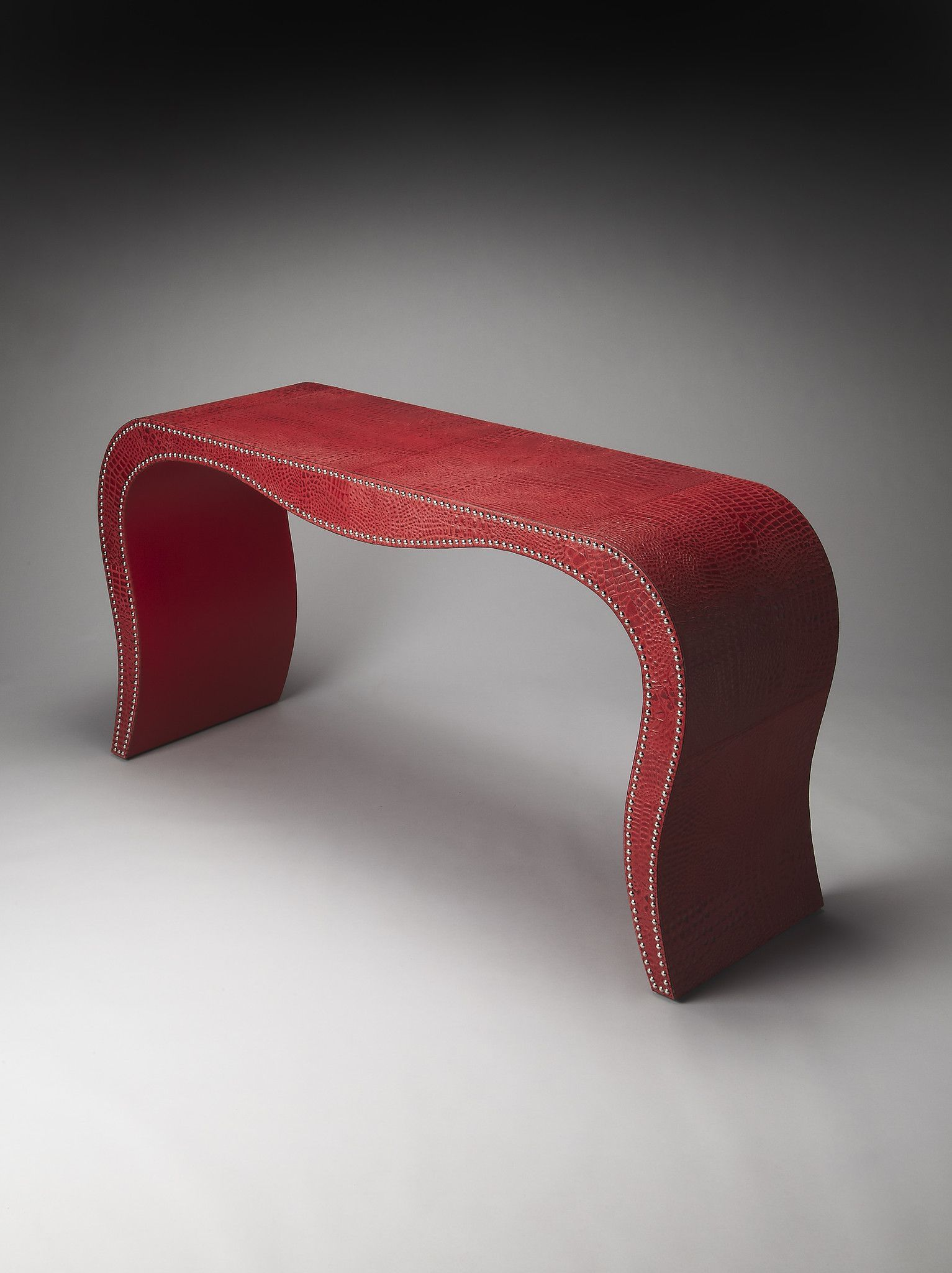 Modern Expressions Milano Red Leather Console Table Leather Console Table Console Table Mdf Wood