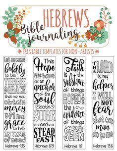 25 + › HEBREWS – 4 druckbare Vorlagen für Bibeljobs, illustrierte christliche Glaubensmarken, schwarz-weißer Bibelvers