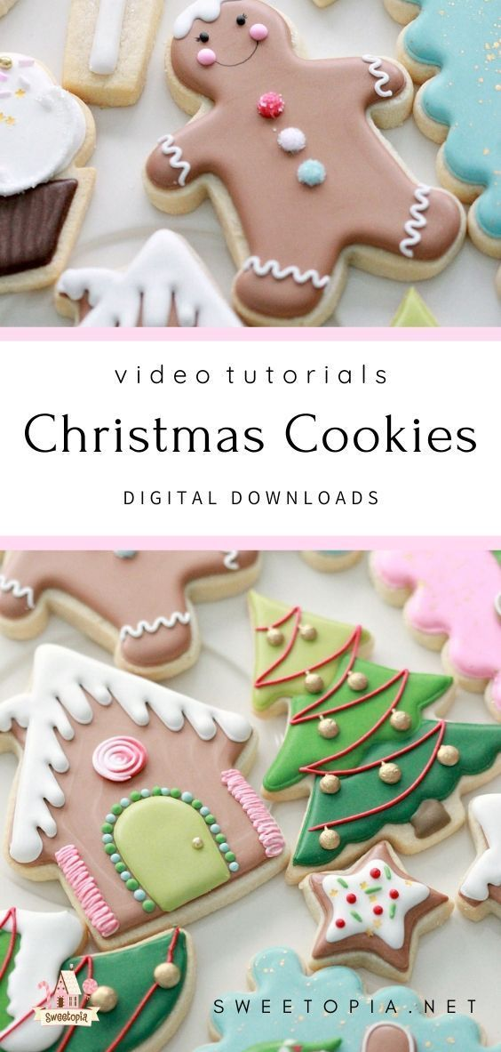 Learn how to decorate these Christmas cookies in a digital download including videos and downloadable PDF 44754590035833553