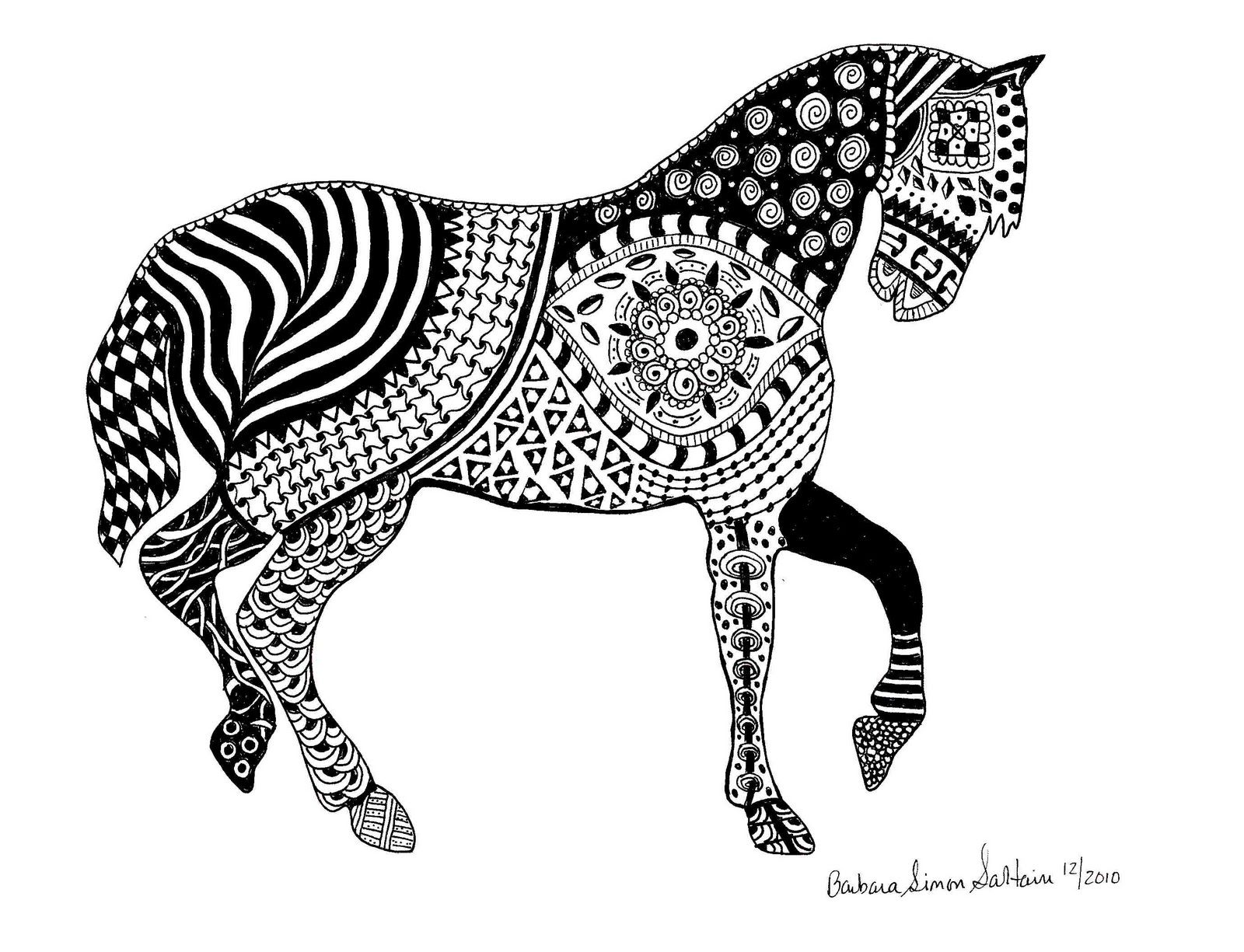 Zentangle Horse | Having so much fun drawing these doodles ...