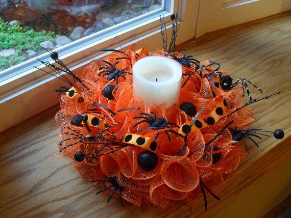 Halloween Deco Mesh Wreath/Centerpiece by HeidisCustomWreaths