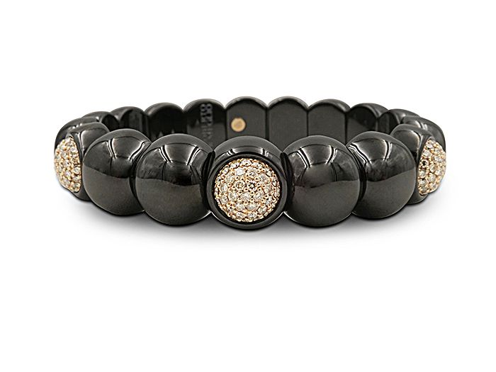 Roberto Demeglio Dama Matte Black Ceramic Beaded Bracelet with White Diamonds aJeRM